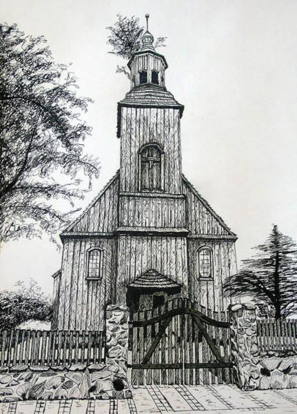 Restaurant Decor Drawing - Wooden Church 2 by Maria Woithofer