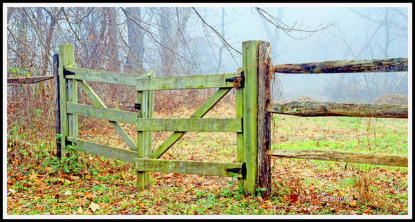 Wooden Fence On A Foggy Morning Art Print