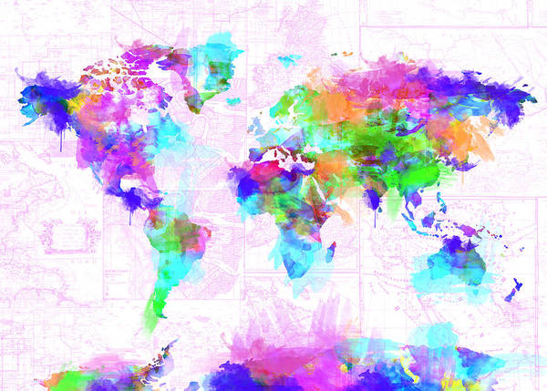 Wall Art - Painting - World Map Brush Strokes by Bekim M