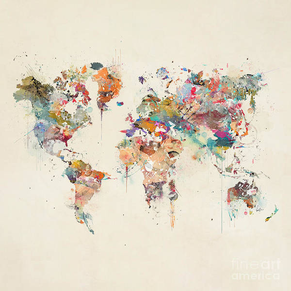The Wall Painting - World Map Watercolor by Bri Buckley