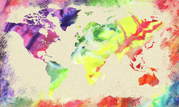 Painting - World Map Watercolor by Irina Sztukowski