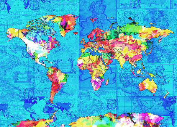 Wall Art - Painting - World Map Watercolor by Bekim M