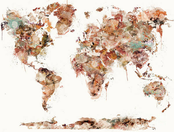 The Wall Painting - World Map Watercolors by Bri Buckley