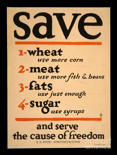 Wall Art - Photograph - World War I Save Food Poster 1917 by John Stephens