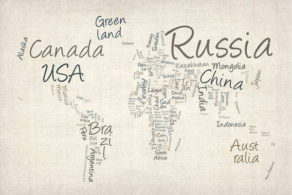 Wall Art - Digital Art - Writing Text Map Of The World Map by Michael Tompsett