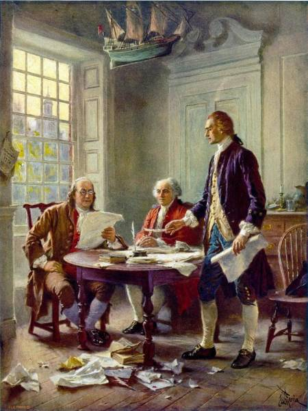 1776 Painting - Writing The Declaration Of Independence, 1776 by Jean Leon Gerome Ferris