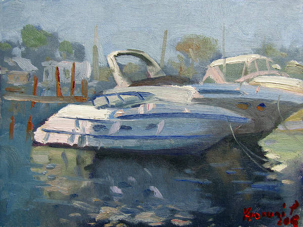 Wall Art - Painting - Yachts At The Harbor by Ylli Haruni