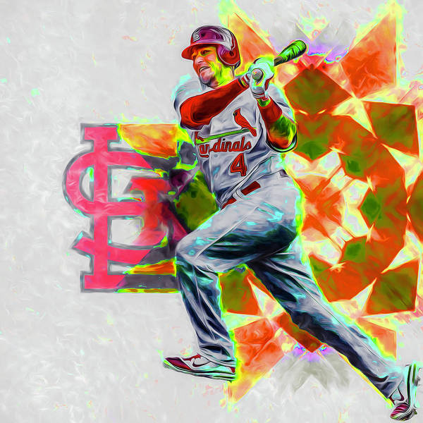 Photograph - Yadier Molina St. Louis Cardinals Baseball by David Haskett II