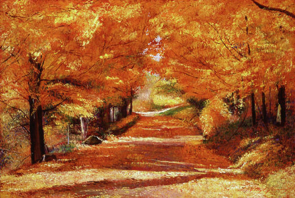 Painting -  Yellow Leaf Road by David Lloyd Glover