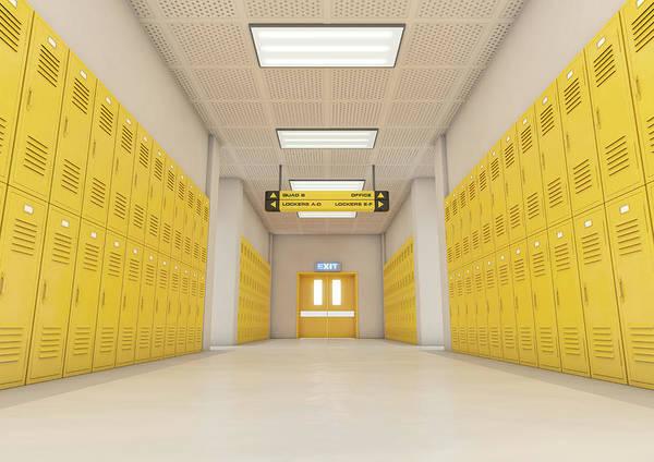Wall Art - Digital Art - Yellow School Lockers Light by Allan Swart