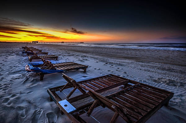 Photograph - Yellow Sunrise Beach Chairs by Michael Thomas