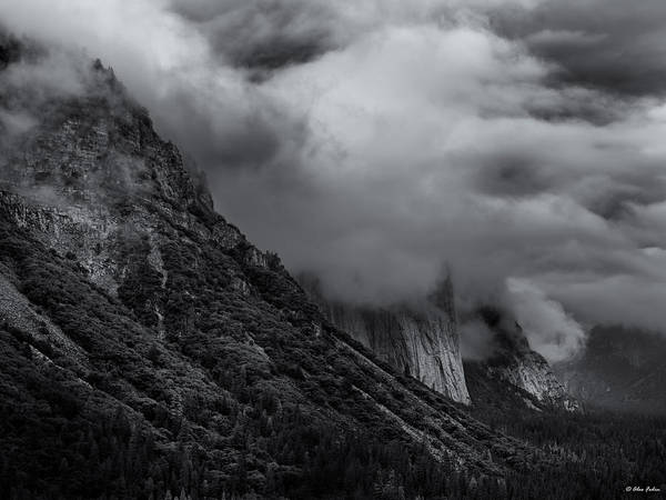 Yosemite Valley Panorama In Black And White Art Print
