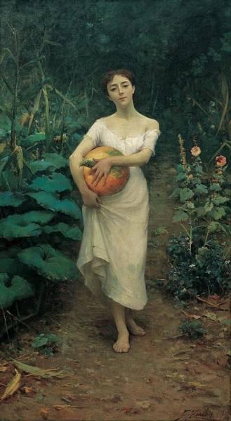 Fausto Zonaro Painting - Young Girl Carrying A Pumpkin by Fausto Zonaro