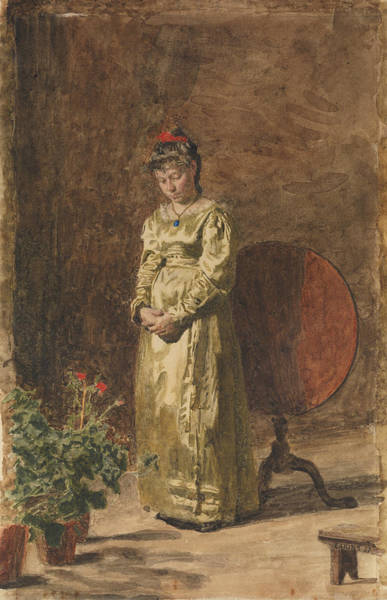 Drawing - Young Girl Meditating by Thomas Eakins
