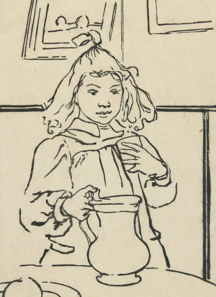Saucer Drawing - Young Girl With A Pitcher by Auguste Lepere