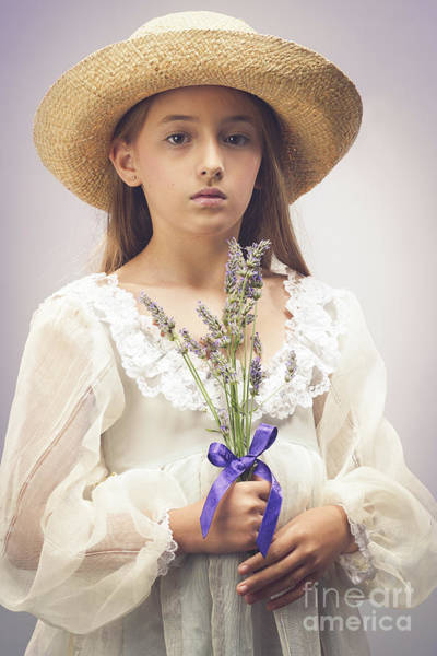 Wall Art - Photograph - Young Girl With Lavender by Amanda Elwell