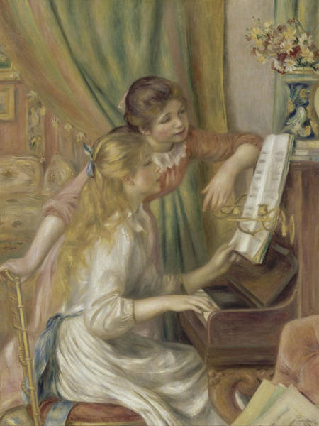 Painting - Young Girls At The Piano by Auguste Renoir