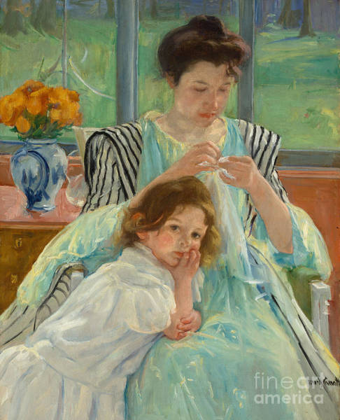 Stitch Painting - Young Mother Sewing by Mary Stevenson Cassatt