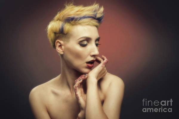 Wall Art - Photograph - Young Woman With Glittered Fingers And Lips by Amanda Elwell