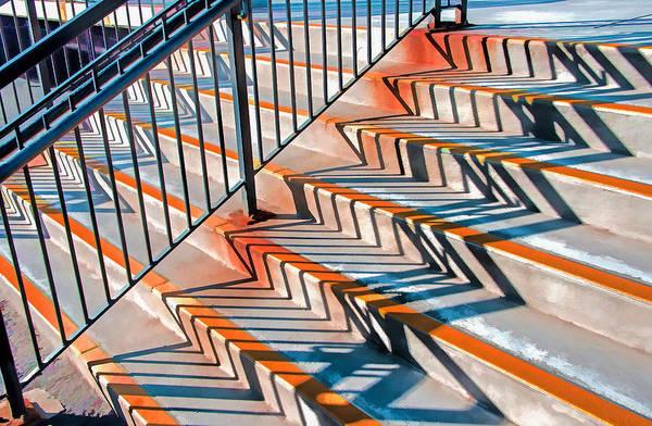 Zig Zag Shadows On Train Station Steps Art Print
