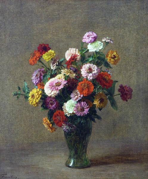 Painting - Zinnias by Henri Fantin Latour