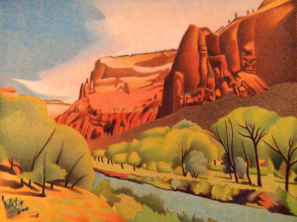 Drawing - Zion Canyon by Dan Miller