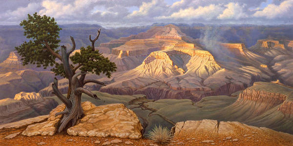 Rim Wall Art - Painting - Zoroaster Temple From Yaki Point by Paul Krapf