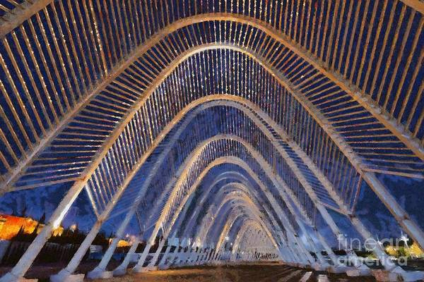 Portico Painting - Archway In Olympic Stadium In Athens by George Atsametakis