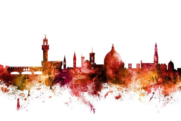 Florence Wall Art - Digital Art - Florence Italy Skyline by Michael Tompsett