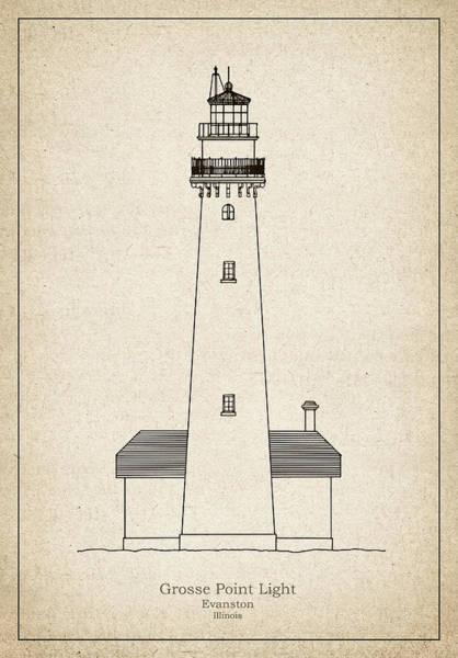 Grosse Point Lighthouse - Illinois - Blueprint Drawing Art Print