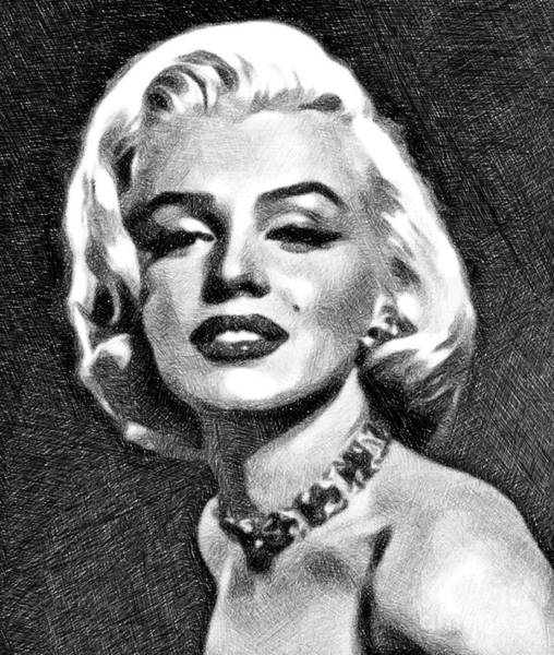 Marilyn Drawing - Marilyn Monroe By John Springfield by John Springfield