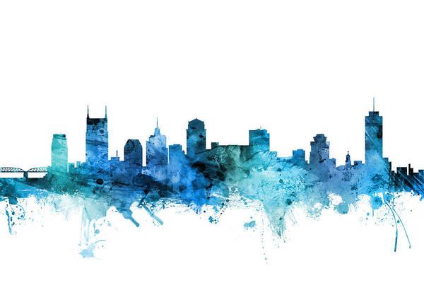 Tennessee Wall Art - Digital Art - Nashville Tennessee Skyline by Michael Tompsett