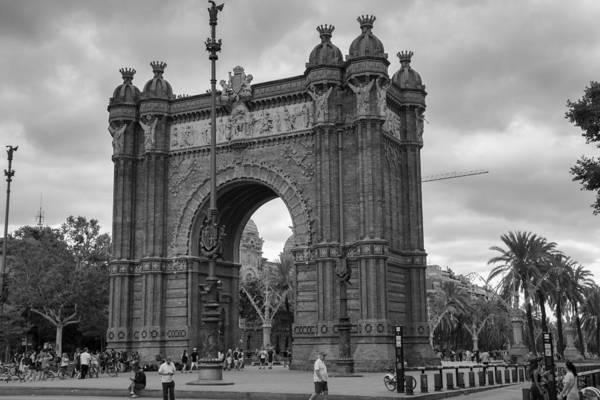 Photograph - Barcelona Arc De Triomf Black And White by Georgia Fowler