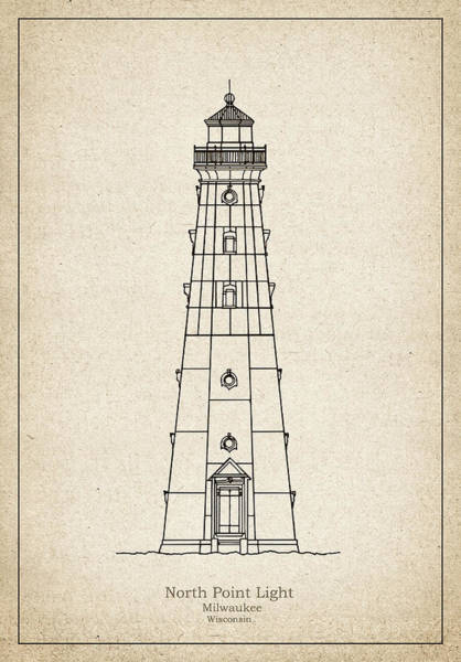 Wall Art - Drawing - North Point Lighthouse - Wisconsin - Blueprint Drawing by JESP Art and Decor