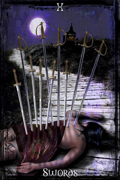 Tarot Deck Digital Art - 10 Of Swords by Tammy Wetzel