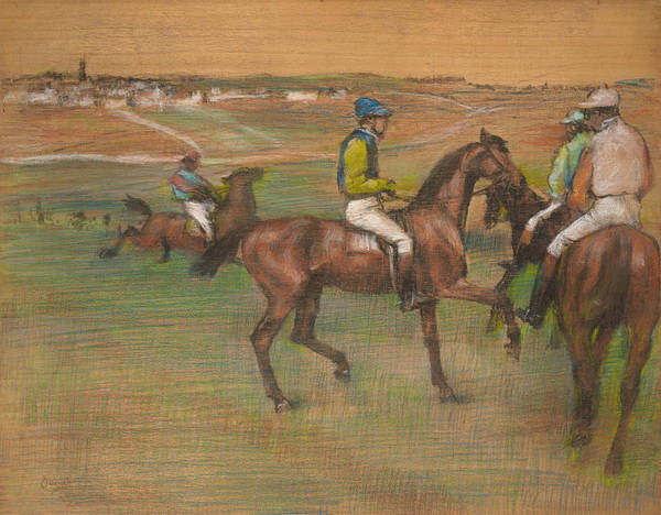 Pastel - Race Horses by Edgar Degas