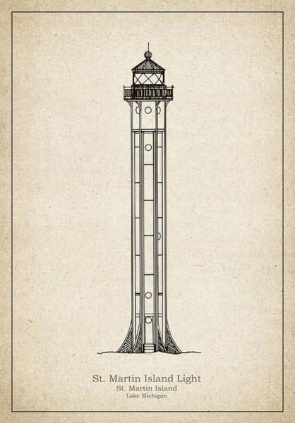 St. Martin Island Lighthouse - Michigan - Blueprint Drawing Art Print