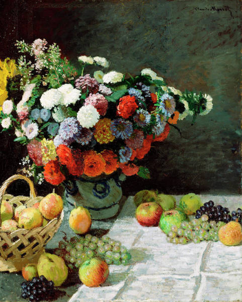 Yellow Ribbon Painting - Still Life With Flowers And Fruit by Claude Monet