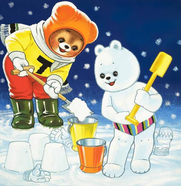 Spade Painting - Teddy Bear Christmas Card by William Francis Phillipps