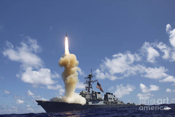 Firepower Photograph - The Guided-missile Destroyer Uss by Stocktrek Images