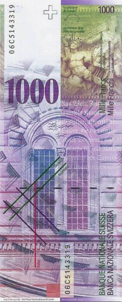 Digital Art - 1000 Swiss Franc Bill by Serge Averbukh
