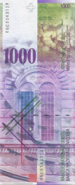 Digital Art - 1000 Swiss Franc Pop Art Bill by Serge Averbukh