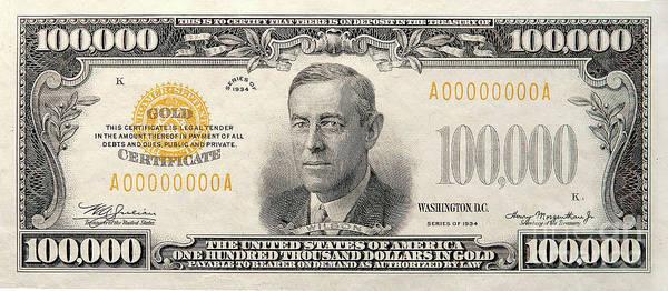 Us Bank Photograph - $100,000 Bill Circa 1934 by Jon Neidert