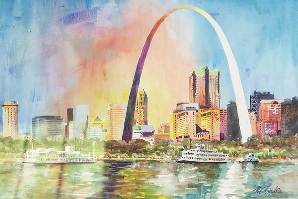 St Louis Arch Painting - 102 Riverfront 93 by Marilynne Bradley