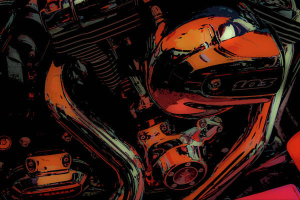 Photograph - 103 Motorcycle Engine Graphic 4418 G_2 by Steven Ward