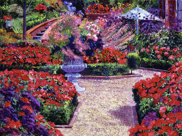 Containers Painting - Garden Study In Red by David Lloyd Glover