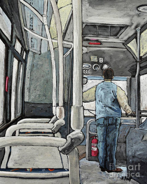Montreal Scenes Painting - 107 Bus On A Rainy Day by Reb Frost