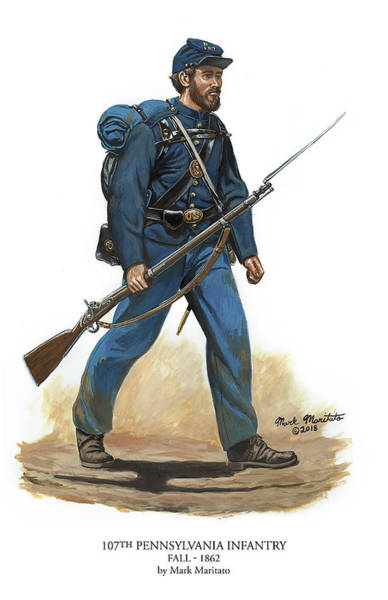 107th Pennsylvania Infantry Regiment - Fall Of 1862 Art Print by Mark Maritato