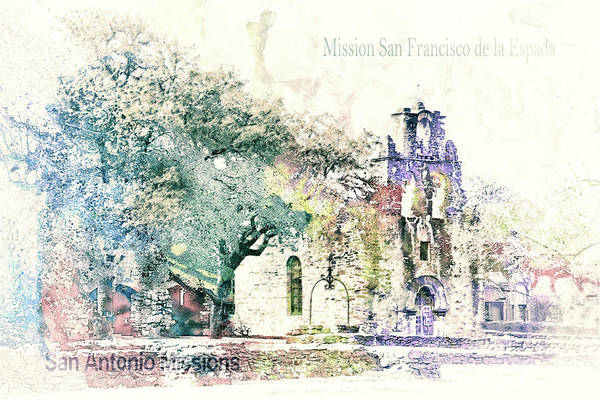 Arch Mixed Media - 10858 Mission San Fransico De La Espada by Pamela Williams