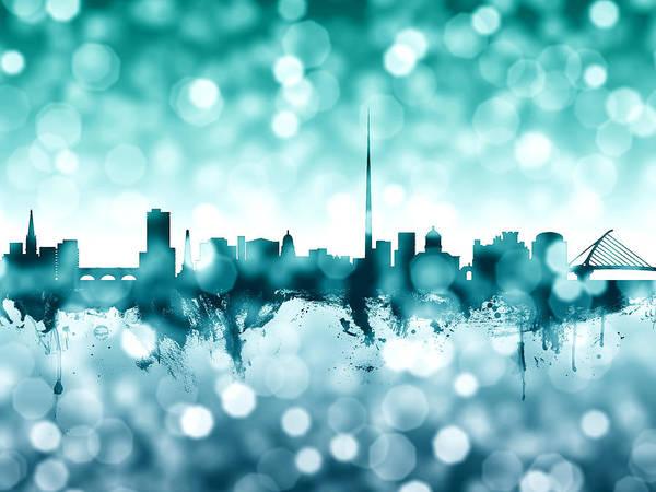 Bokeh Digital Art - Dublin Ireland Skyline by Michael Tompsett
